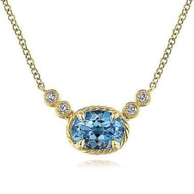 Swiss Blue Topaz & Diamond Necklace in 14k Yellow Gold