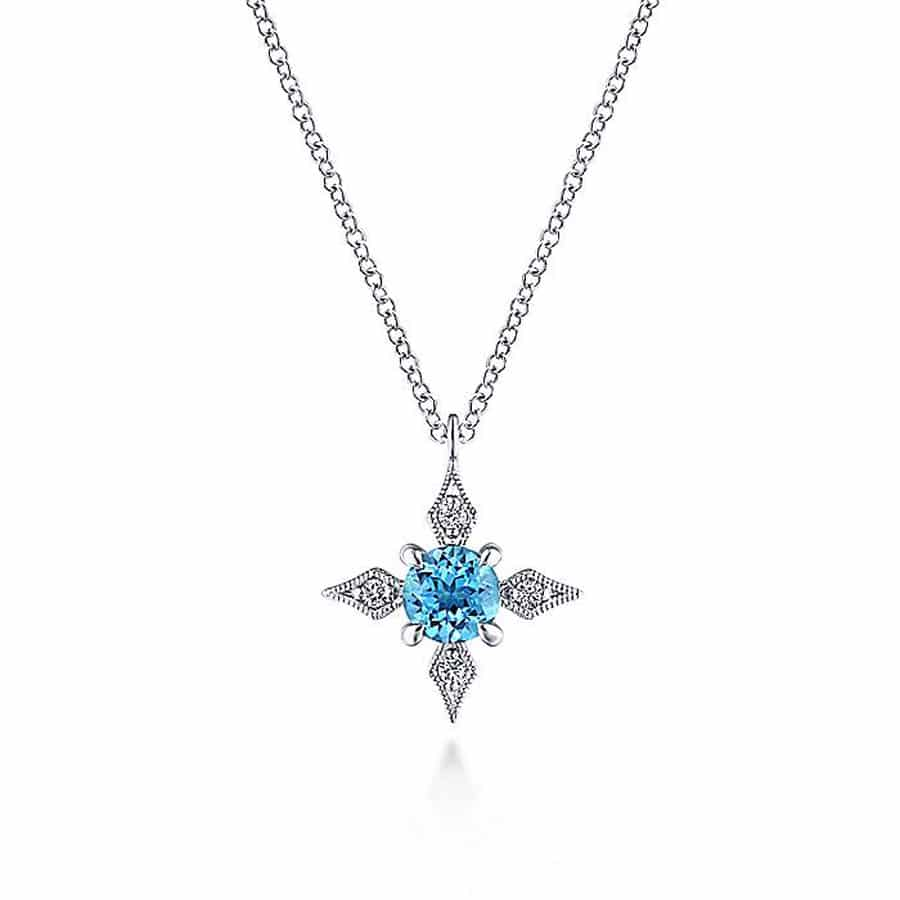 Swiss-Blue-Topaz-&-Diamond-Star-Necklace-14k-White-Gold