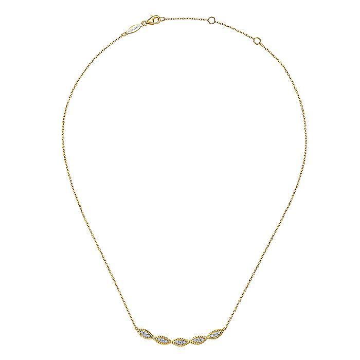 Twisted Curve Diamond Bar Necklace2