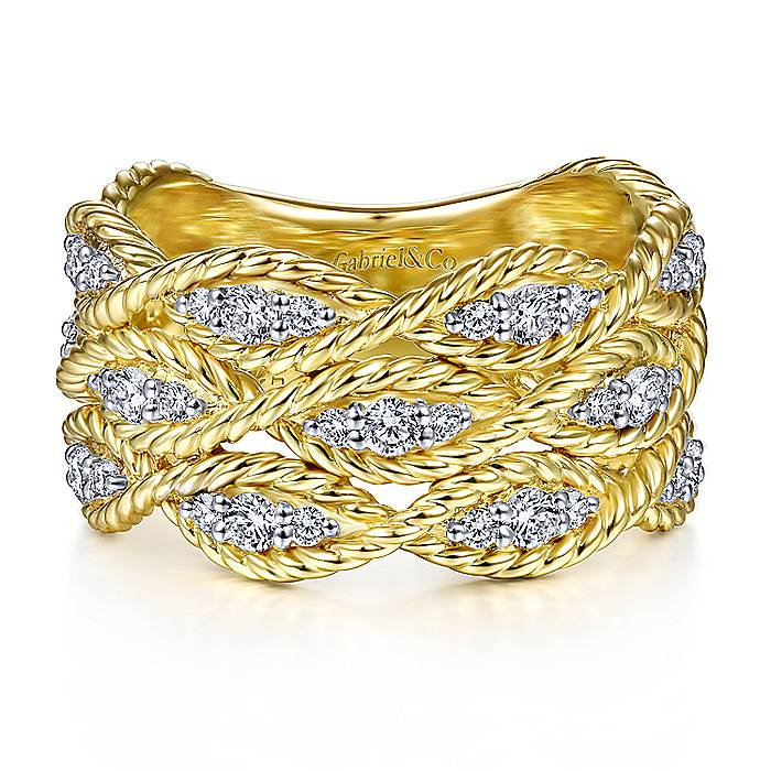 Twisted Curved Diamond Band in 14k Yellow Gold