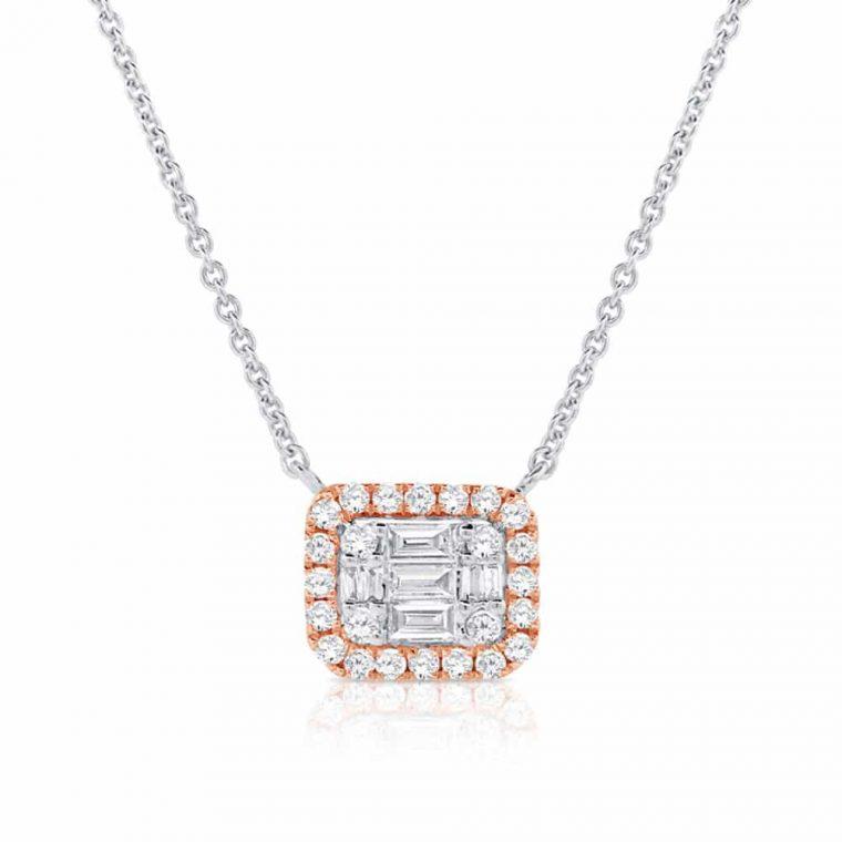 Two Tone 14k Rose & White Gold Square Diamond Pendant Necklace