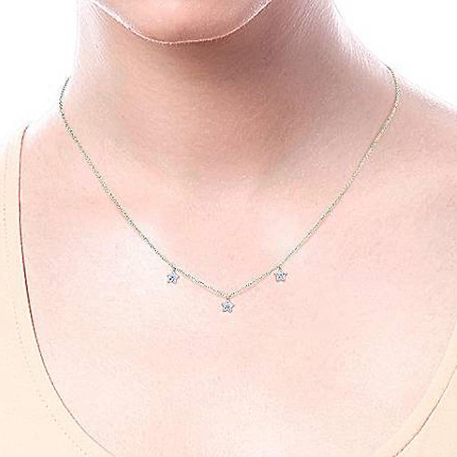 Pave Diamond 3 Stars Necklace in 14k White or Yellow Gold