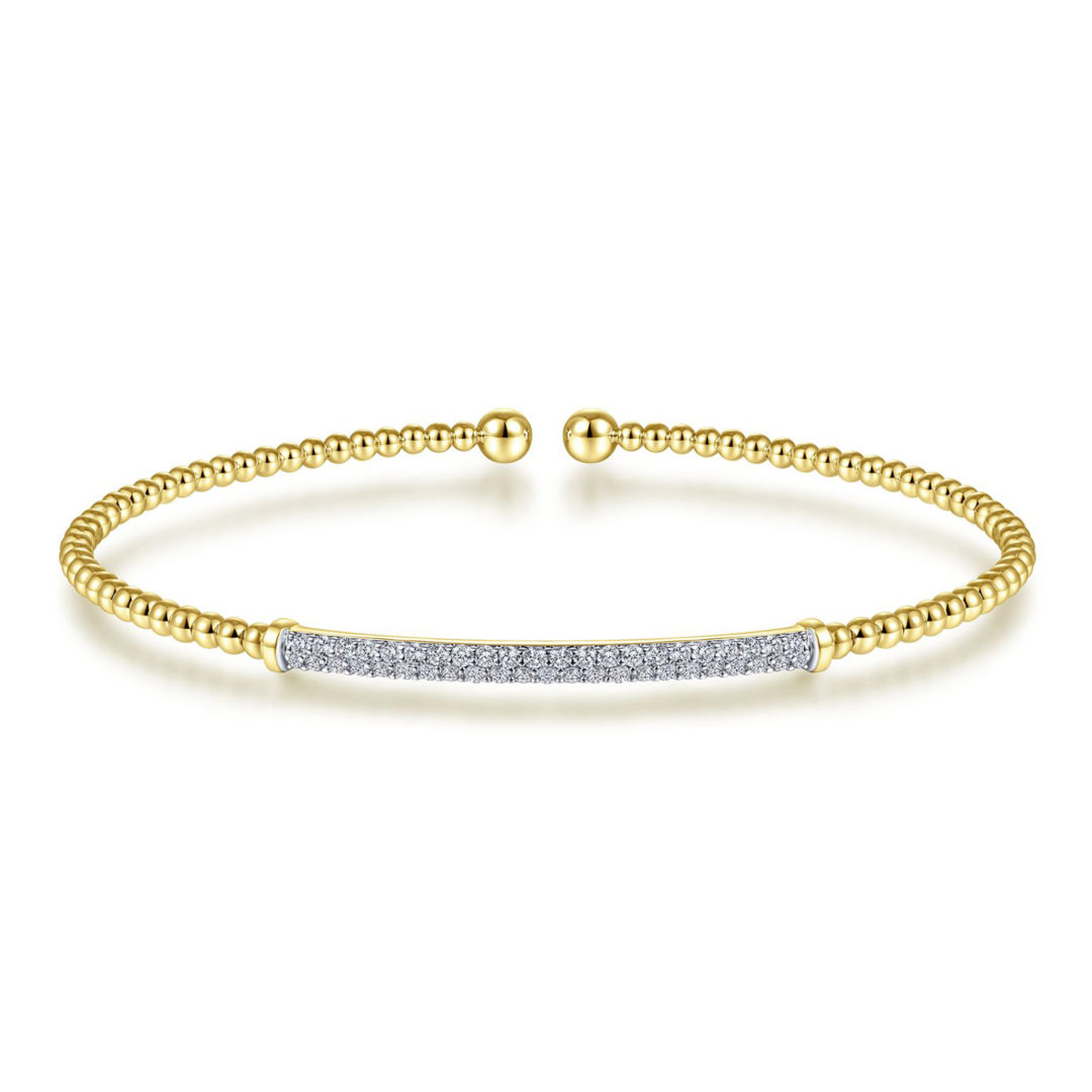Bujukan Beaded Bangle Diamond Accent 14k Yellow Gold BG4262
