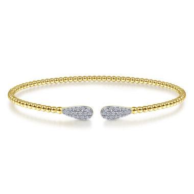 Beaded Bracelet Bangle with Oval Diamond Accents