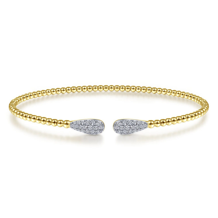 Beaded Bracelet Bangle with Oval Diamond Accents
