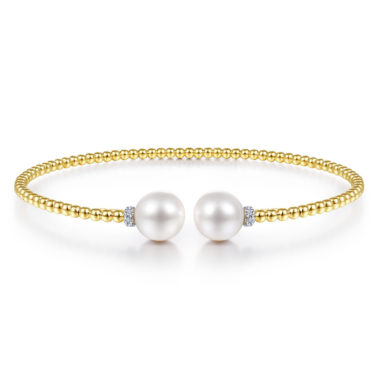 Bujukan Beaded Bangle with Pearls yellow