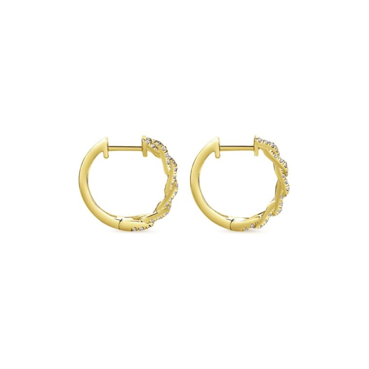 Chainlink Diamond Huggie Earrings_Gabriel-EG13232Y5JJ - Side View