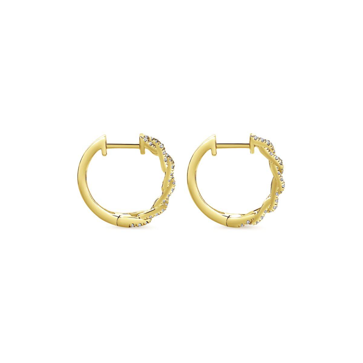 Chainlink Diamond Huggie Earrings_Gabriel-EG13232Y5JJ - Side View