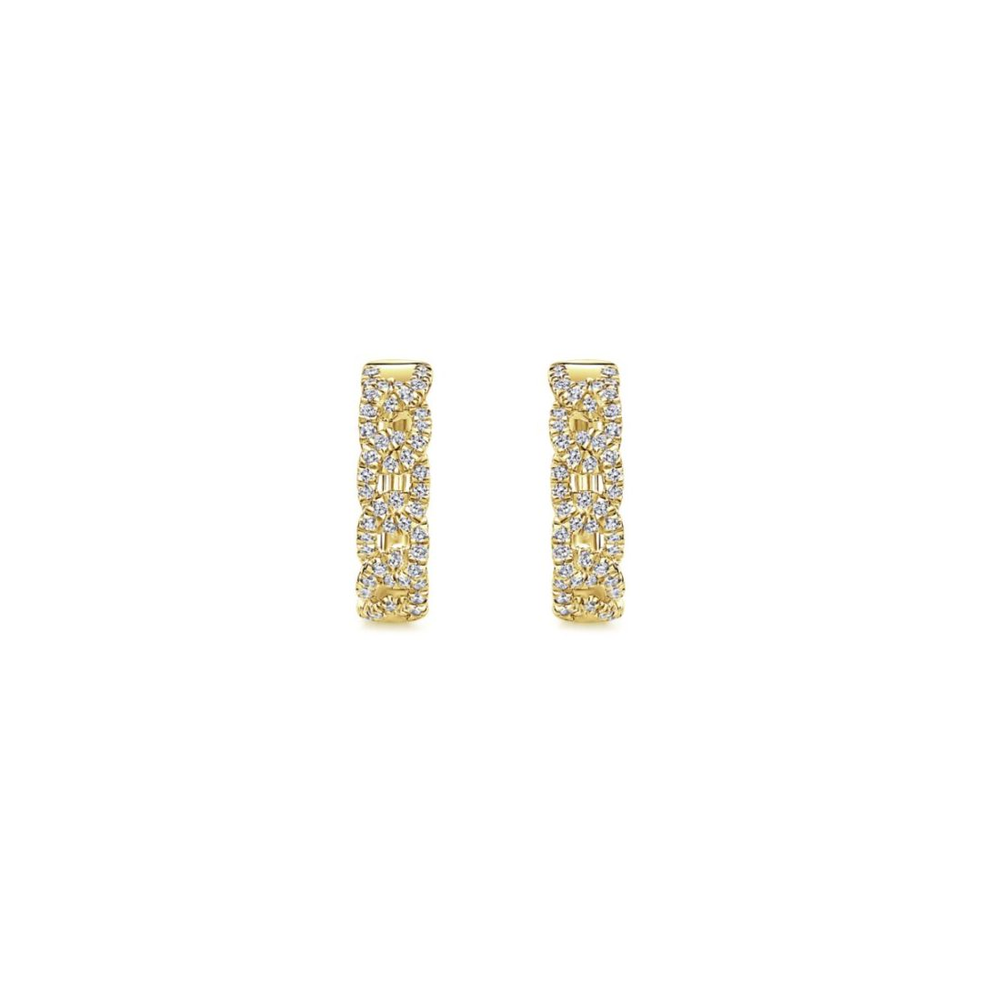 Chainlink Diamond Huggie Earrings_Gabriel-EG13232Y5JJ - Front View