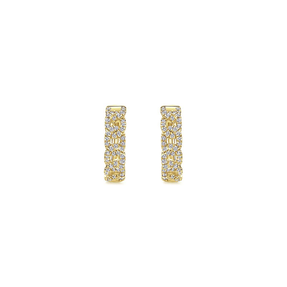 Chainlink Diamond Huggie Earrings_Gabriel-EG13232Y5JJ - Front View