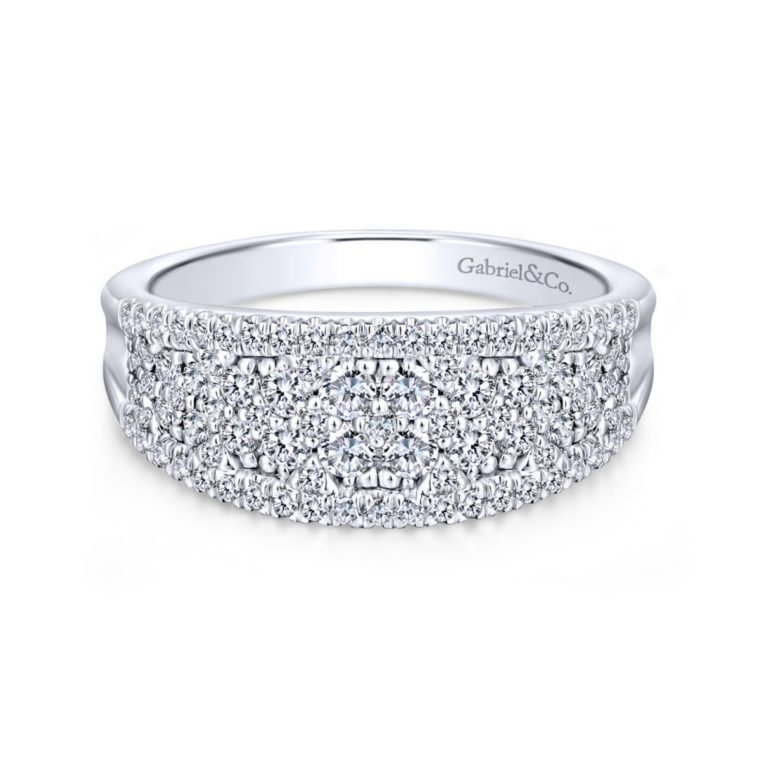Curved Pave Mixed Diamonds Ring in 14k White Gold - Long Island, NY