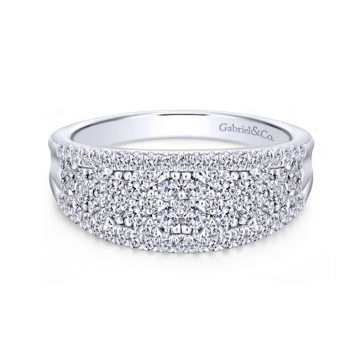 Curved Pave Mixed Diamonds Ring in 14k White Gold-Gabriel-LR51342W45JJ-1