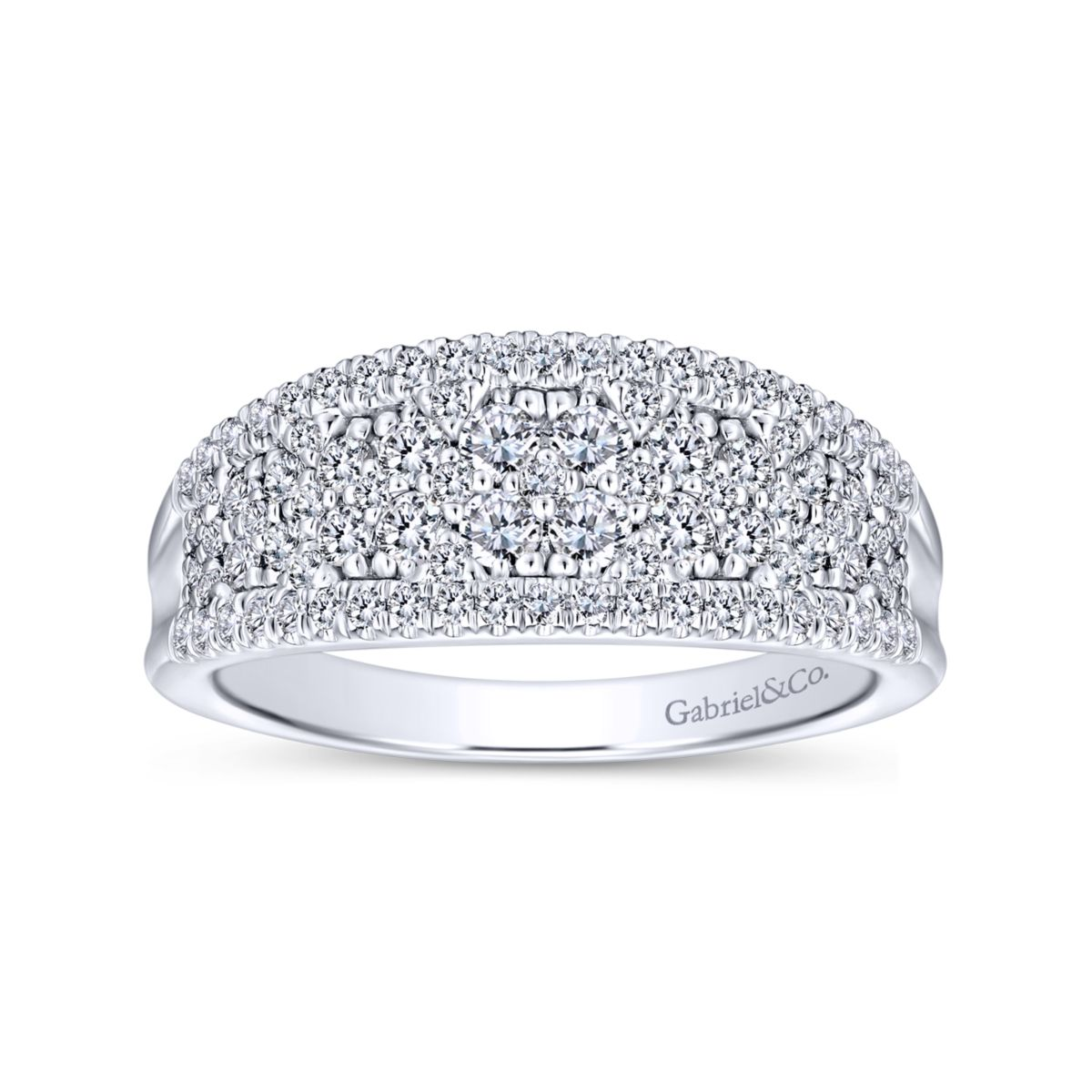 Curved Pave Mixed Diamonds Ring in 14k White Gold - Bottom View