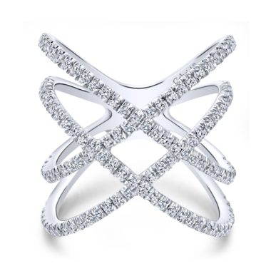 Lusso Twisted Woven Diamond Ring White Gold - Long Island, NY