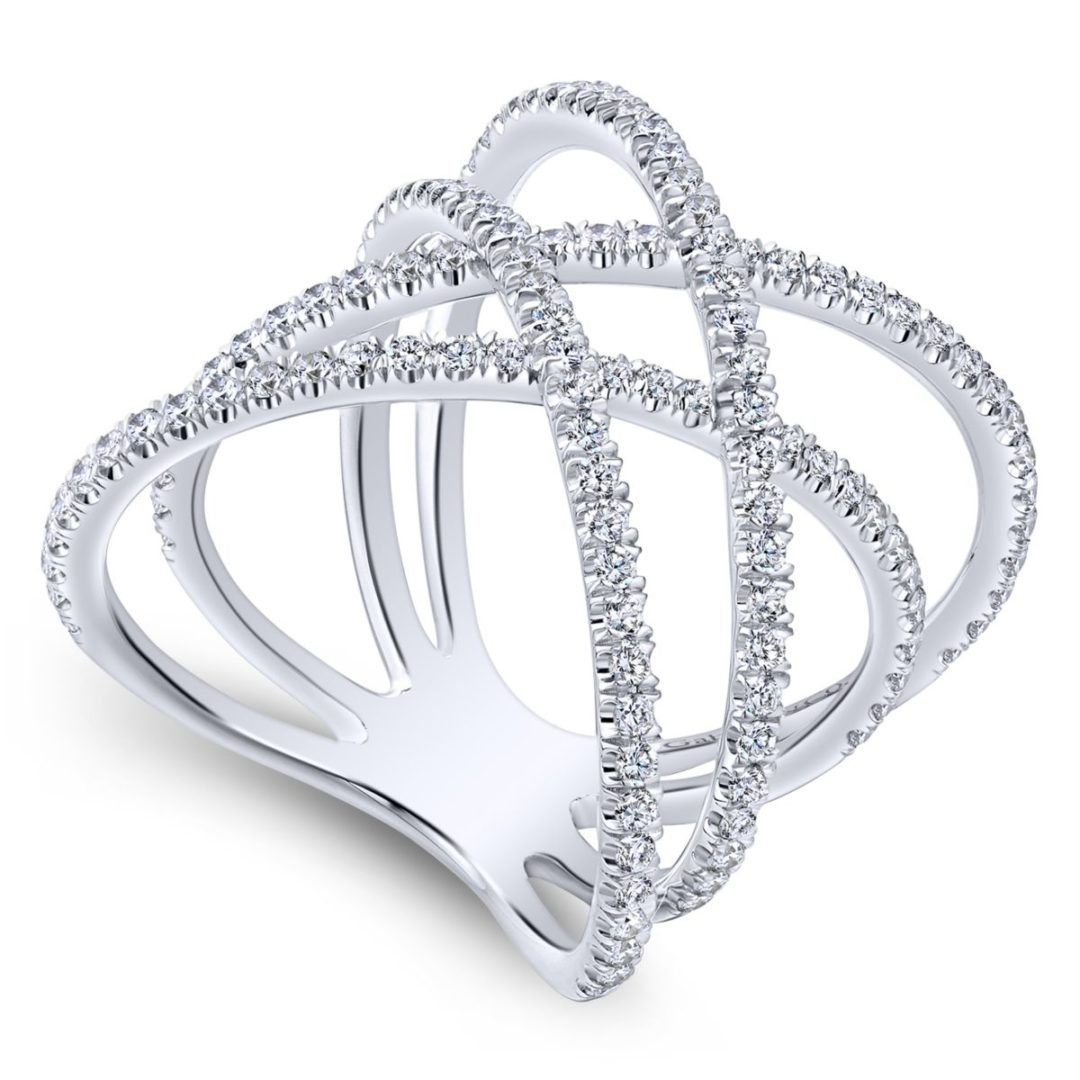 Lusso Twisted Woven Diamond Ring White Gold - Long Island, NY - Angled View
