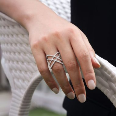 Wearing the Lusso Twisted Woven Diamond Ring White Gold - Long Island, NY