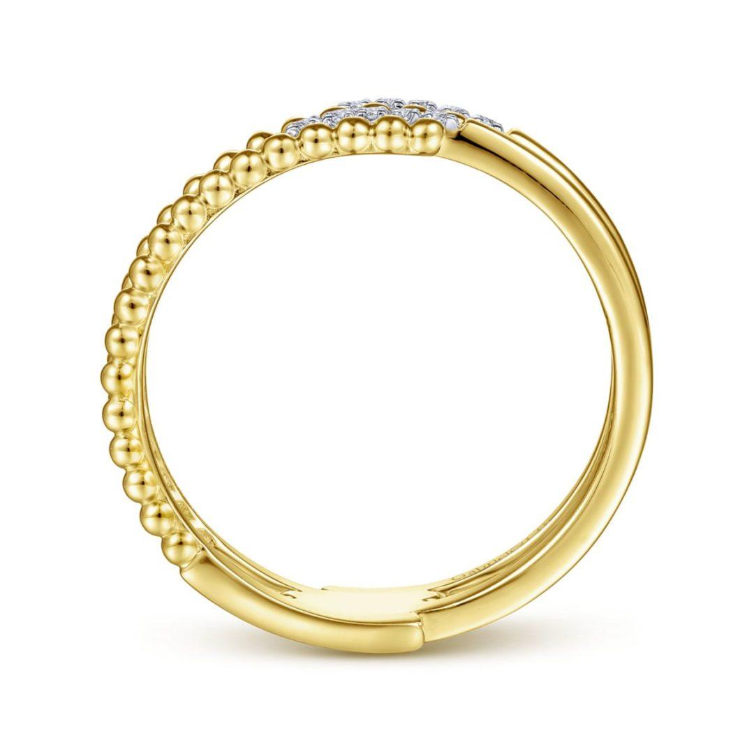 Bujukan Beaded Split Diamond Ring - Side View