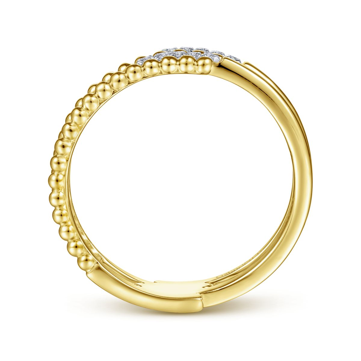 Bujukan Beaded Split Diamond Ring - Side View