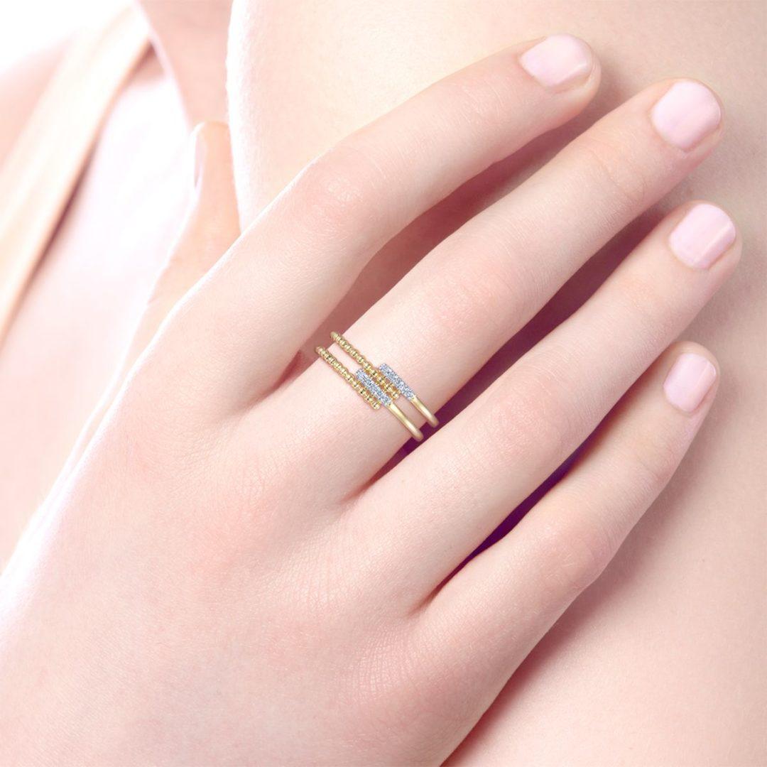 Wearing the Bujukan Beaded Split Diamond Ring - Long Island, NY