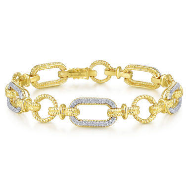 Hampton Chain Link Diamond Tennis Bracelet 14k Yellow White Gold