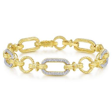 Hampton Chain Link Diamond Tennis Bracelet 14k Yellow White Gold