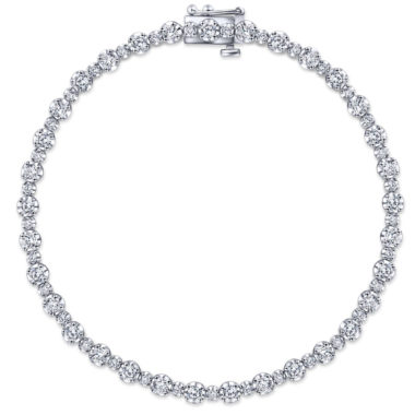 Lusso Alternating Diamond Tennis Bracelet in 14k White Gold