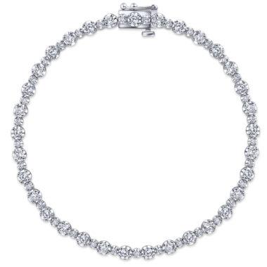 Lusso Alternating Diamond Tennis Bracelet in 14k White Gold