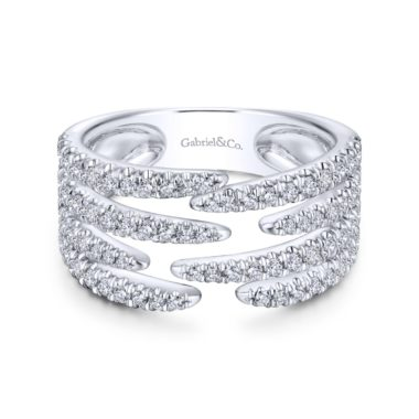 Pave Diamond Strands Wide Band Open Ring in 14k White Gold