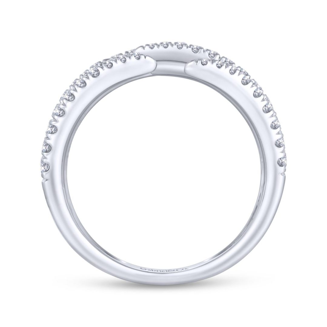 Pave Diamond Strands Wide Band Open Ring in 14k White Gold - side