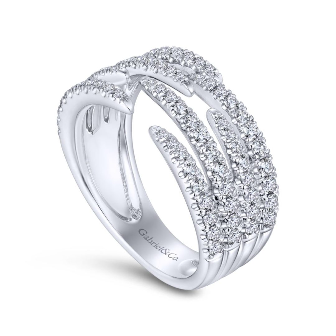 Pave Diamond Strands Wide Band Open Ring in 14k White Gold - angled