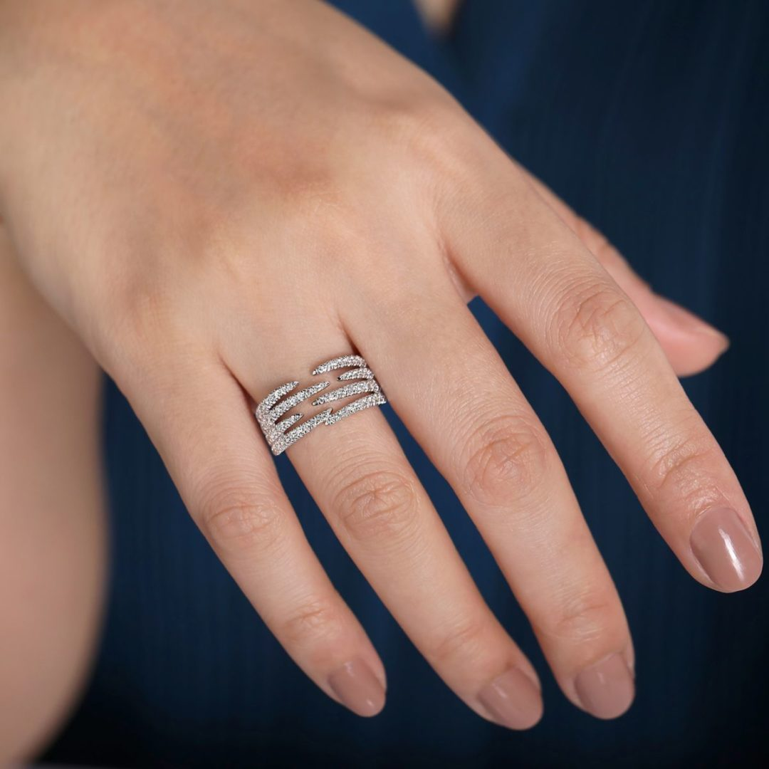 wearing the Pave Diamond Strands Wide Band Open Ring in 14k White Gold