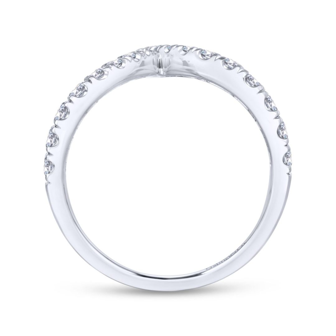 V-Shaped Diamond Ring in 14k White Gold - Side View - Long Island, NY