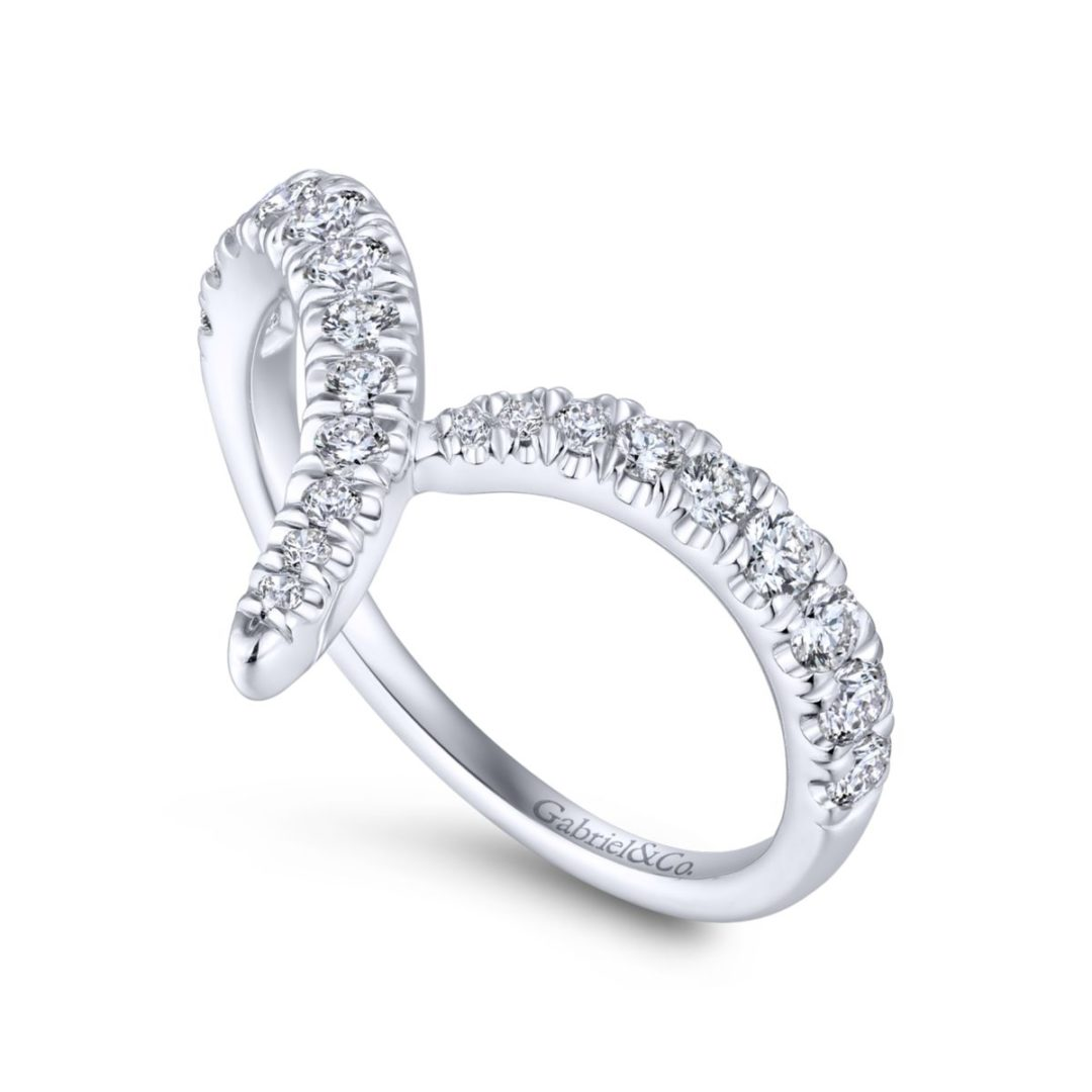 V-Shaped Diamond Ring in 14k White Gold - Angled View - Long Island, NY