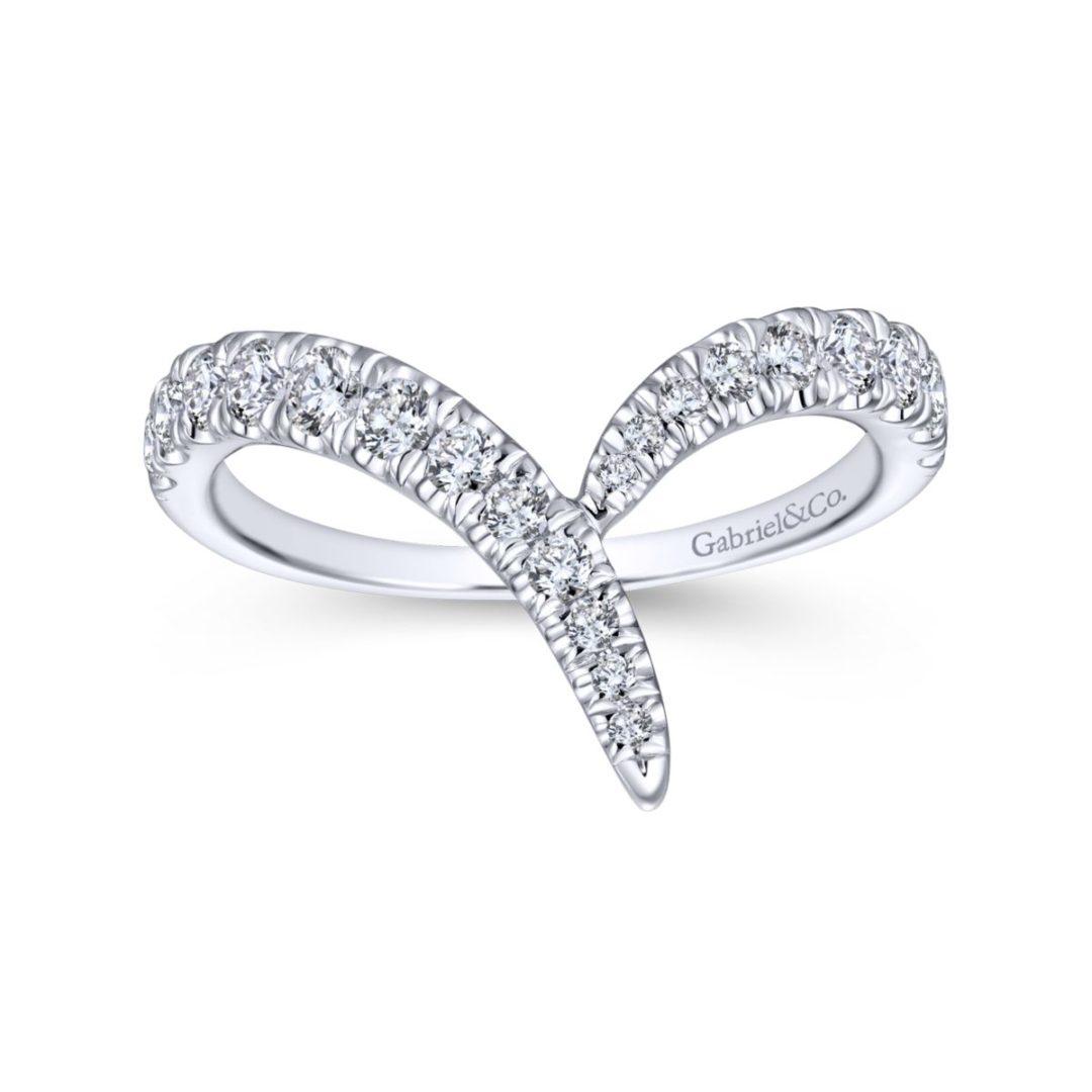 V-Shaped Diamond Ring in 14k White Gold- Bottom View - Long Island, NY