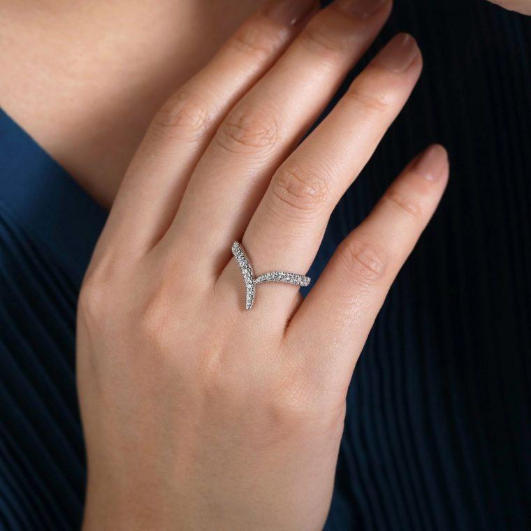 Wearing the V-Shaped Diamond Ring in 14k White Gold-
