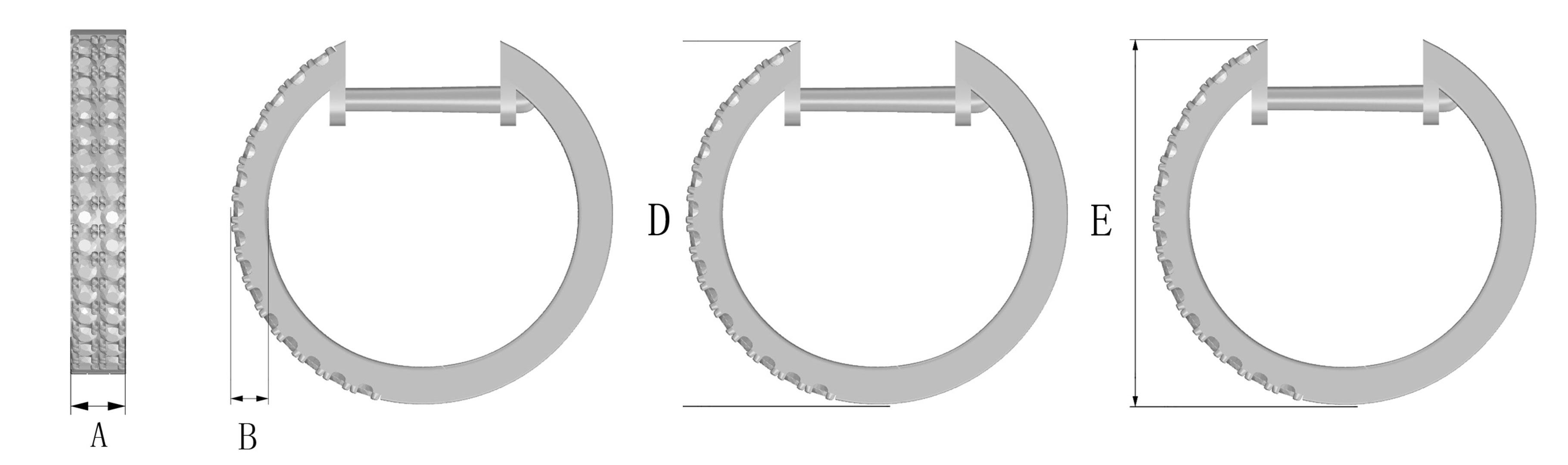Huggie Earrings Size Guide with Drop Size - Long Island