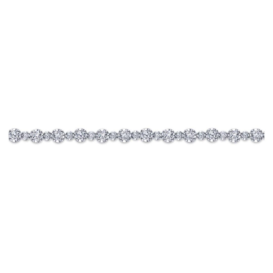 Side View of the Lusso Alternating Diamond Tennis Bracelet in 14k White Gold