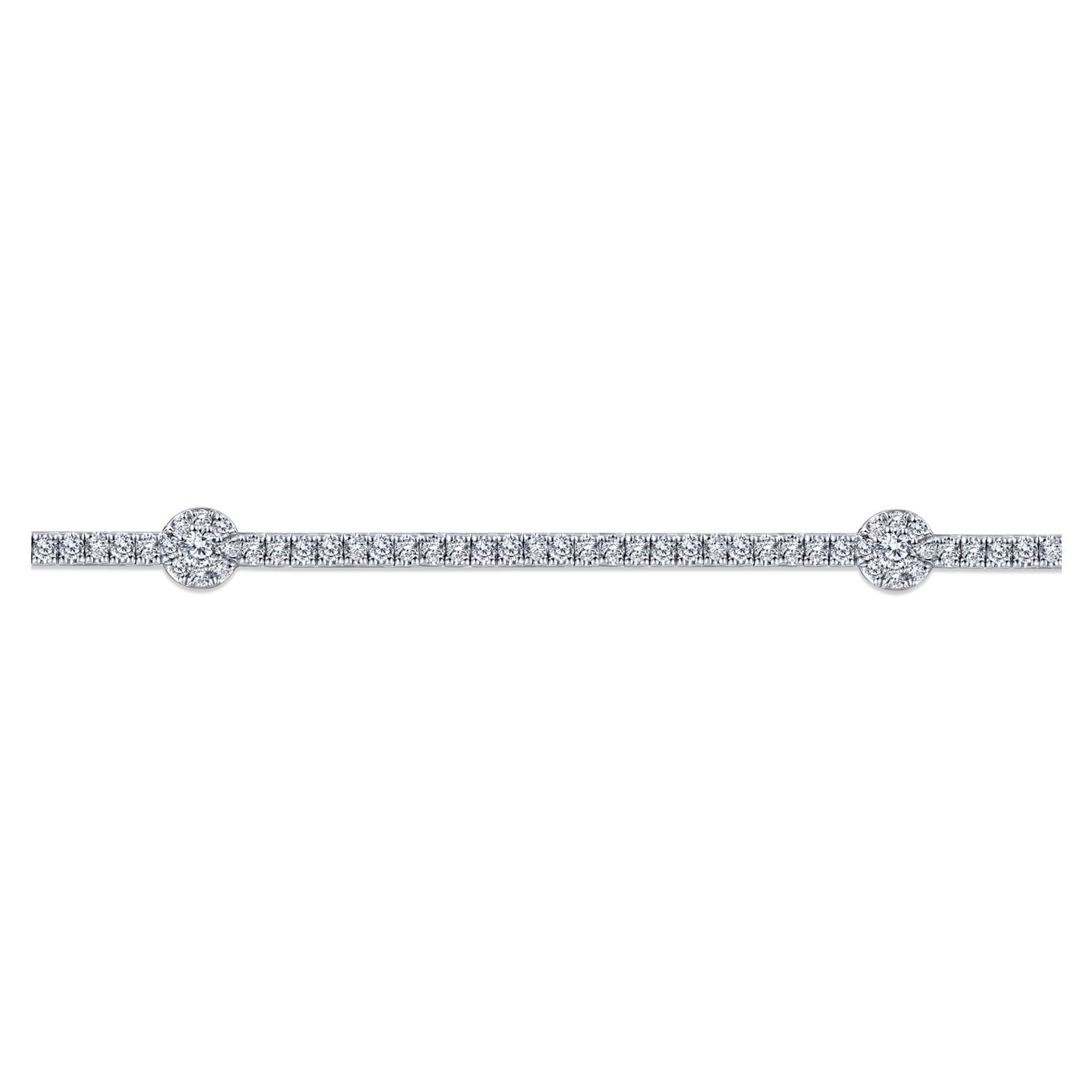 Side View of Round-Diamond-TenniLusso Bracelet in 14k White Gold