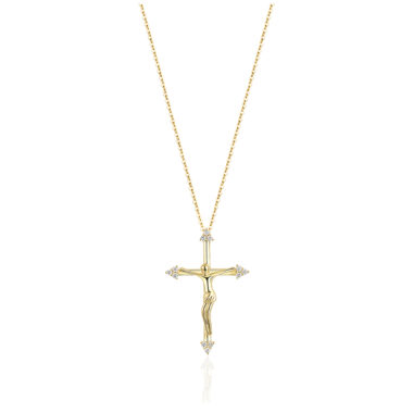 Diamond Tipped Cross Necklace