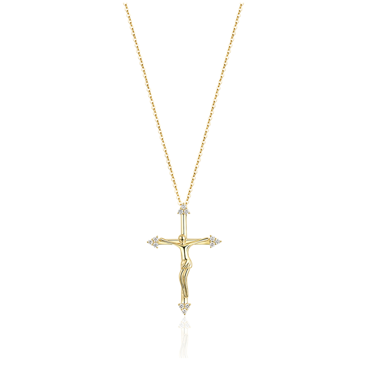 Diamond Tipped Cross Necklace
