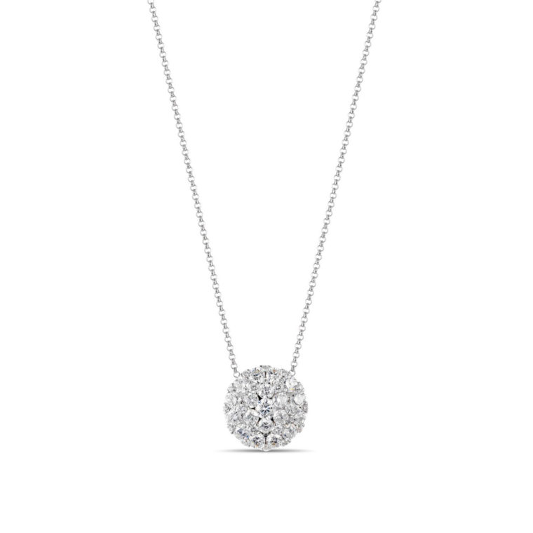 large round diamond necklace 14k white gold