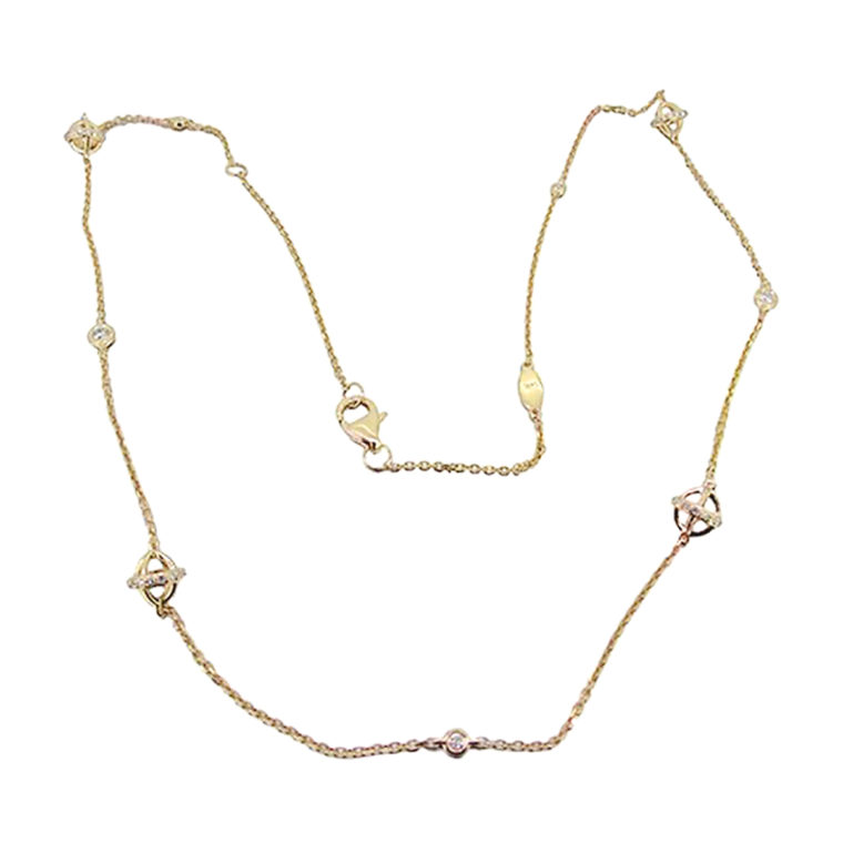 Thin Chain Diamond Gold Necklace