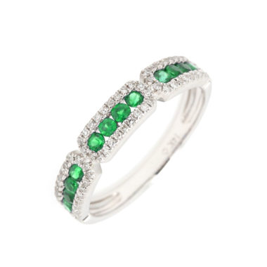 Luvente Emerald Band with Paved Diamonds Ring