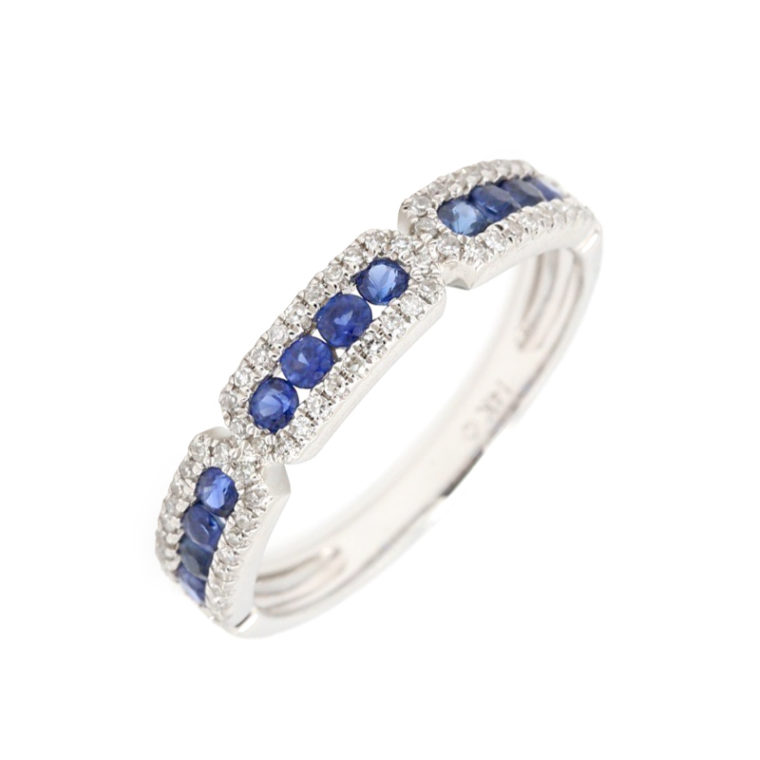 Luvente Blue Sapphire Band with Paved Diamonds Ring
