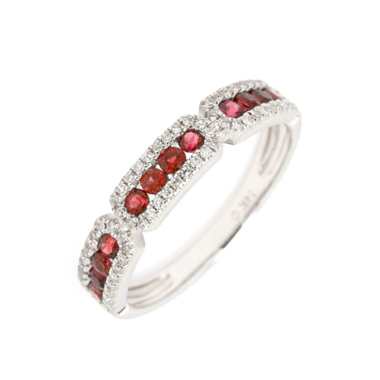 Luvente Ruby Band with Paved Diamonds Ring