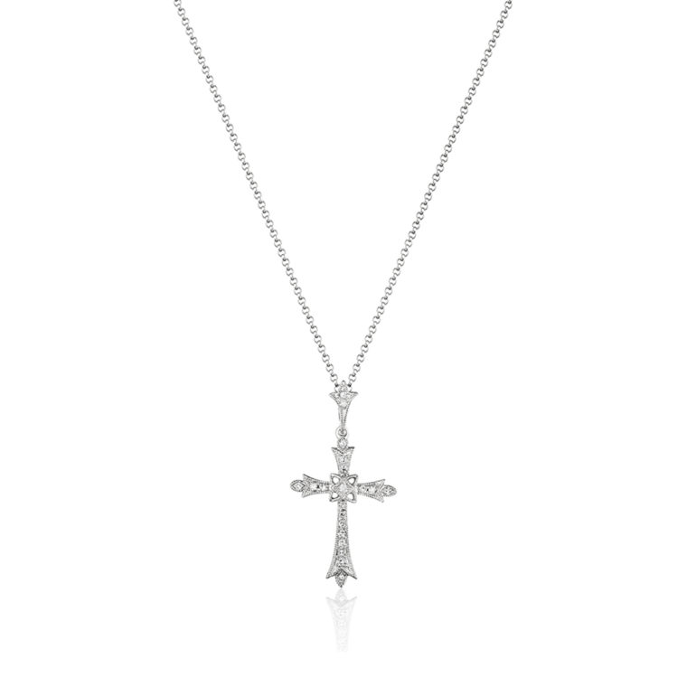Paved Diamond Cross Necklace