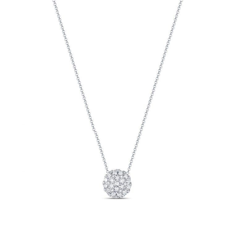 Round Paved Diamond Gold Necklace