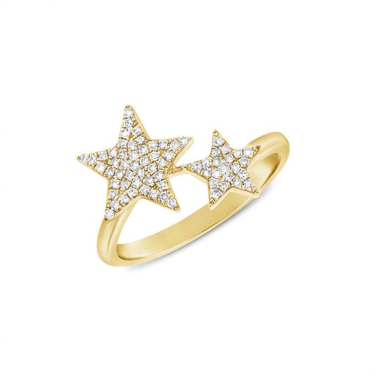 Diamond Stars Ring in 14k Yellow Gold