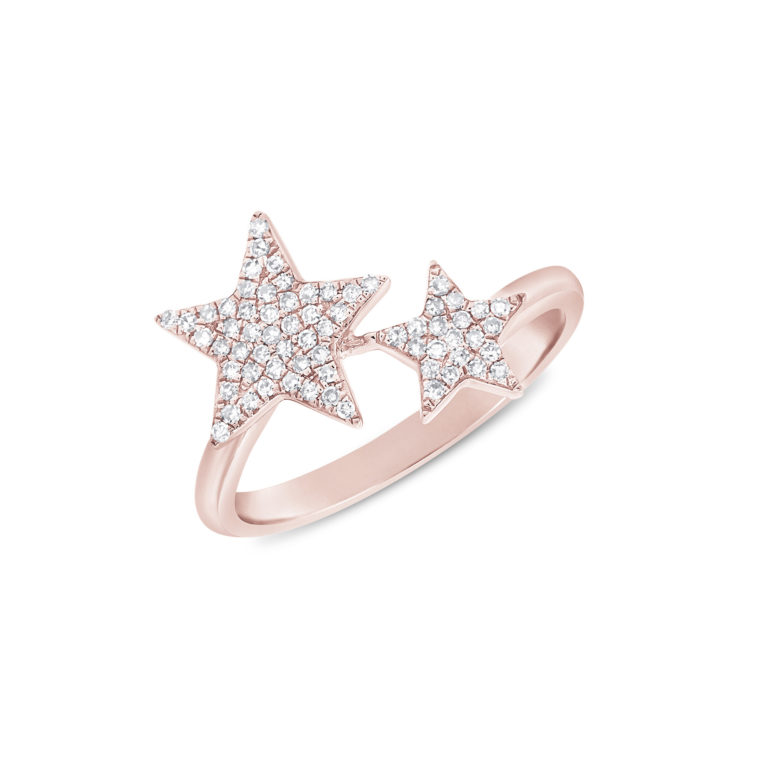 Diamond Stars Ring in 14k Pink Gold