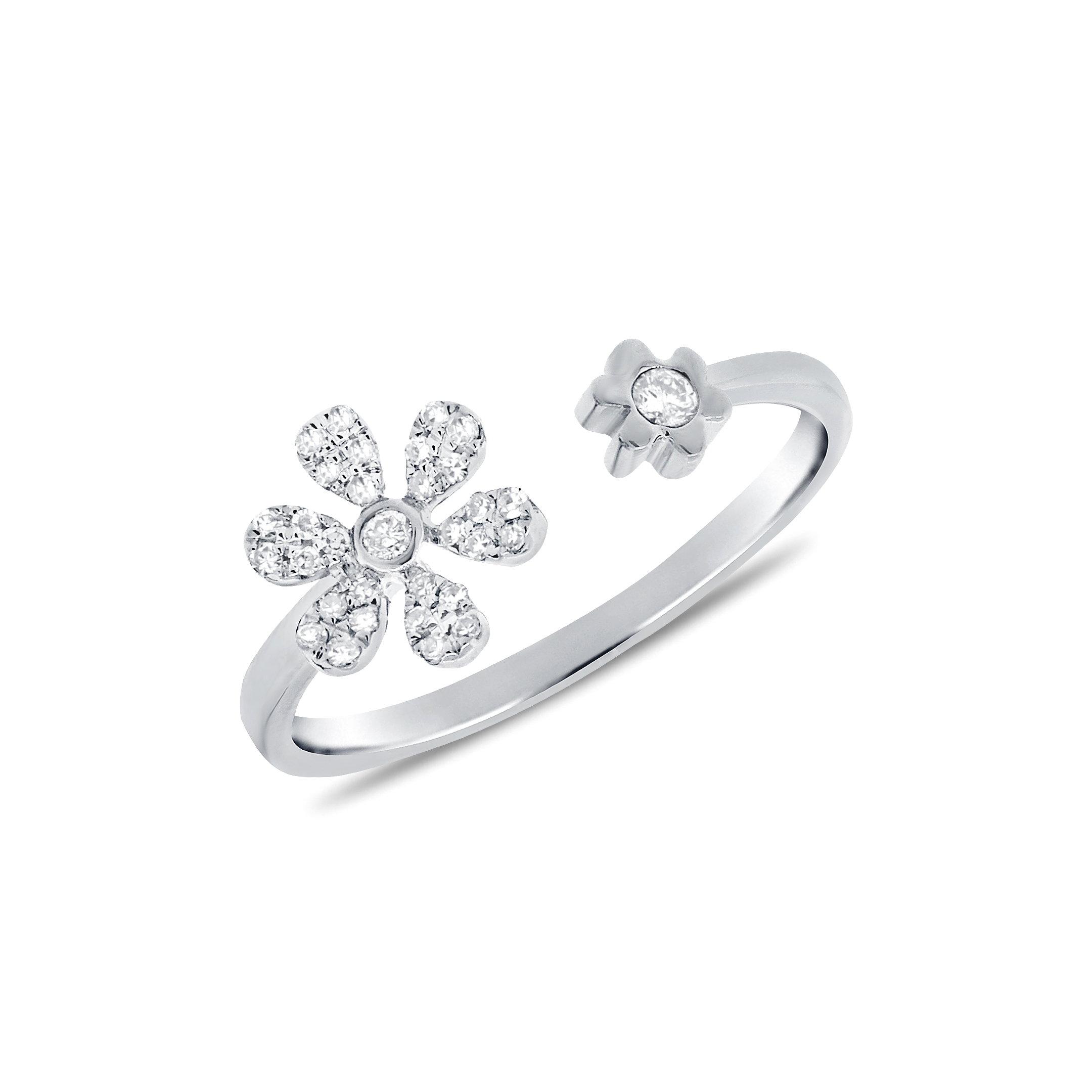 Diamond Daisy Petal Ring in 14k White Gold